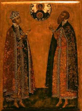 На иконе изображены царевич Димитрий и князь Роман